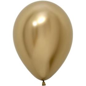 """Шар латексный 5"""", хром, водные бомбочки, набор 100 шт., цвет золотой"""