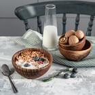 Набор тарелок из натурального вяза Magistro, 3 шт: 15×6,3, 12,5×6,1, 10,5×5,9 см, цвет коричневый - фото 594841