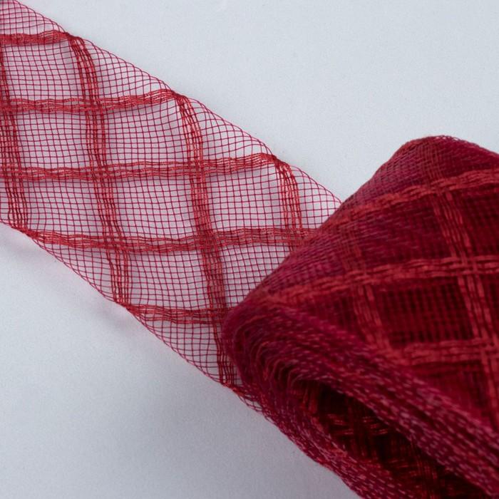 Регилин плоский «Клетка», 45 мм, 5 ± 0,5 м, цвет бордовый