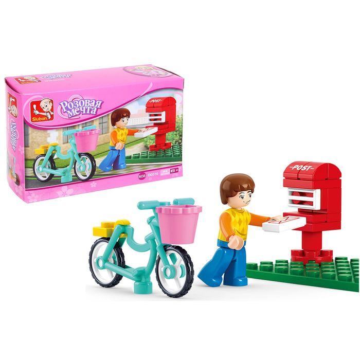 Конструктор Розовая мечта «Курьер на велосипеде», 29 деталей