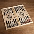 Chips backgammon game, wood, d=2 cm,set of 30 pieces + 2 dice