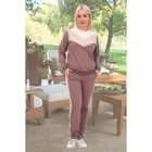 Костюм женский (свитшот, брюки) «Черри», цвет кофейный, размер 56