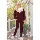 Костюм женский (толстовка, брюки) «Черри», цвет винный, размер 56