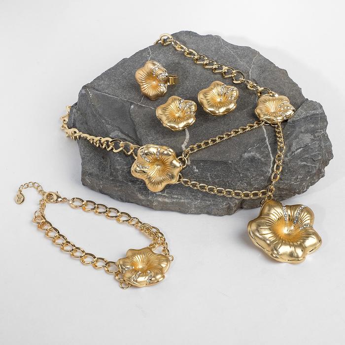 """Набор 4 предмета: серьги, колье, браслет, кольцо безразмерное """"Цветы"""", цвет белый в золоте"""