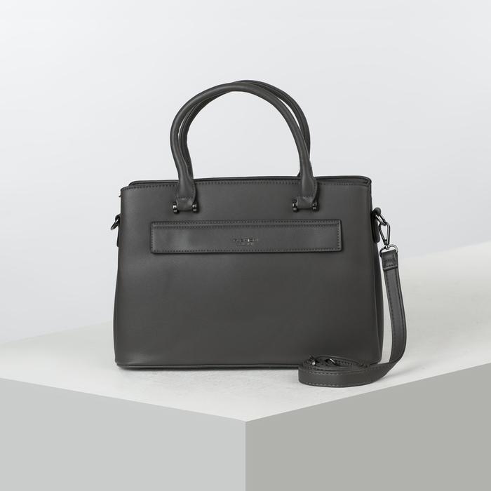 Сумка женская, 3 отдела на молнии, 2 наружных кармана, длинный ремень, цвет серый - фото 50626