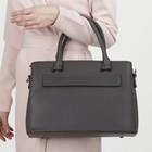 Сумка женская, 3 отдела на молнии, 2 наружных кармана, длинный ремень, цвет серый - фото 50627