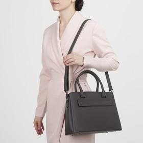 Сумка женская, 3 отдела на молнии, 2 наружных кармана, длинный ремень, цвет серый - фото 50630