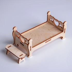 Кукольная мебель «Кровать с лавочкой»