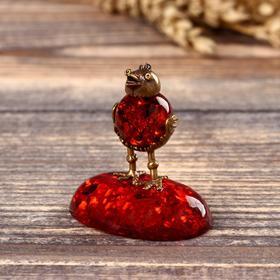 """Souvenir brass and amber """"hen"""""""