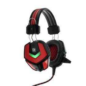Наушники Defender Ridley, игровые, полноразмерные, микрофон, 3.5мм+USB, 2.2 м, чёрно-красные