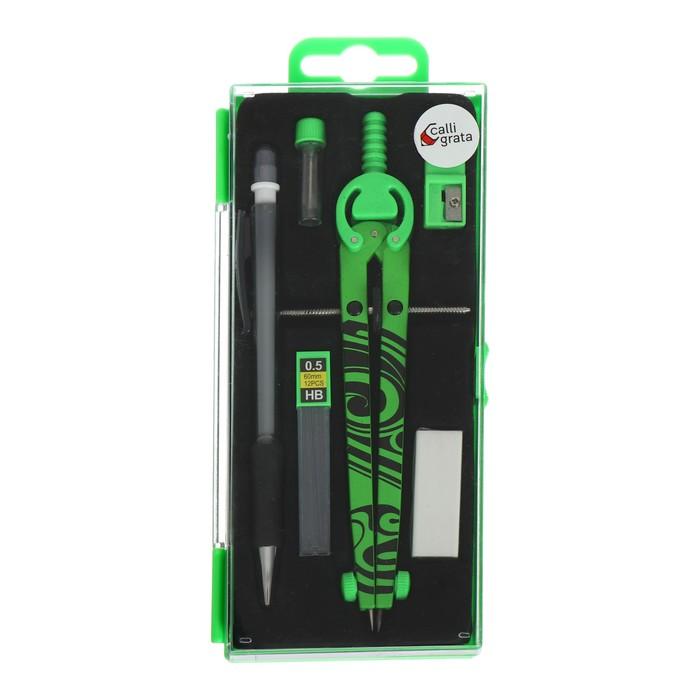 Готовальня 6 предметов (циркуль, точилка, грифель, ластик, автоматический карандаш 0,5 мм, грифели НВ 0,5 мм), в пластиковом пенале