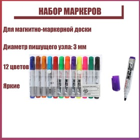 A set of markers for magnetic marker Board 3mm 12 PCs.