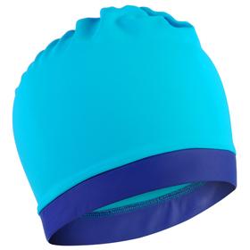 Шапочка для плавания объёмная двухцветная, лайкра, лагуна/графит