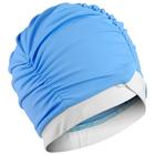 Шапочка для плавания объёмная двухцветная, лайкра, голубой/белый