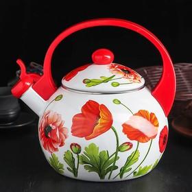 Чайник эмалированный со свистком «Чудесница. Маки», 2,5 л