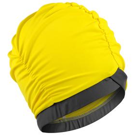 Шапочка для плавания объёмная двухцветная, лайкра, жёлтый/тёмно-серый