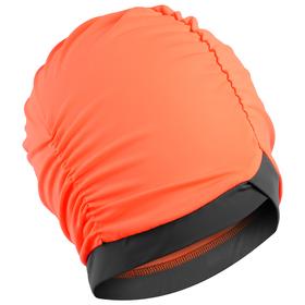 Шапочка для плавания объёмная двухцветная, лайкра, оранжевый неон/тёмно-серый
