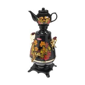 Самовар 'Росинка' РОС-1005, 2200 Вт, 4 л, пластик, черный с цветами Ош