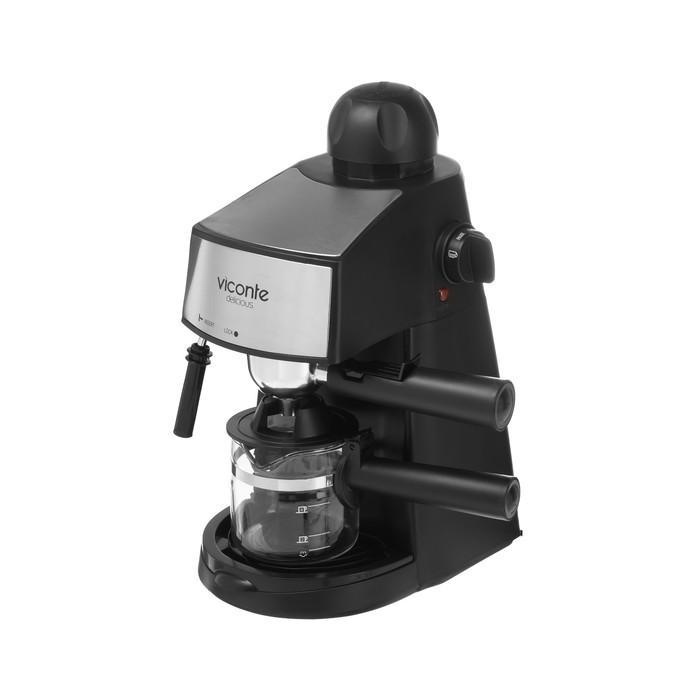 Кофеварка Viconte VC-701, рожковая, 800 Вт, капучинатор, черная - фото 489851