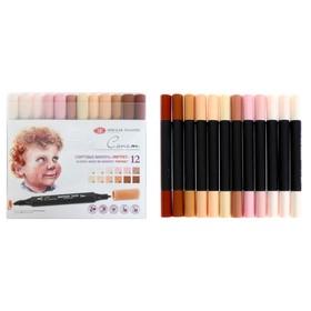 Набор художественных маркеров «Сонет», 12 цветов, спиртовая основа, двусторонний: пулевидная/скошенная, «Портрет»