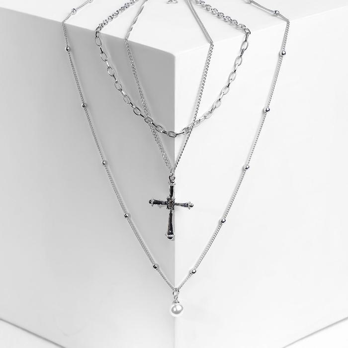"""Кулон """"Цепь"""" крест с жемчугом, цвет белый в серебре, L=60 см"""