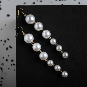 """Pearl earrings """"Spheres"""" trail of beads, white gold"""
