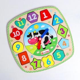Сортер «Часики. Корова» 21×21×1.6 см