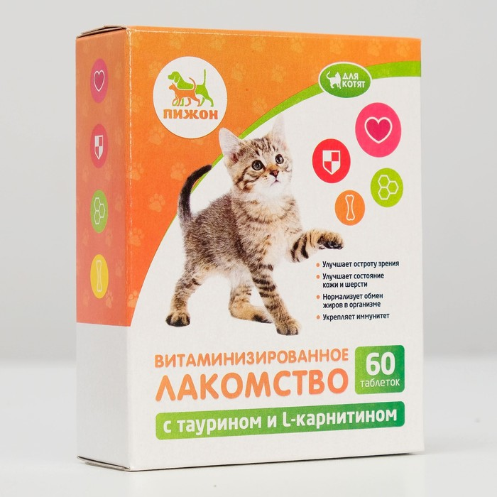 "Лакомства ""Пижон"" для котят, с таурином и L-карнитином, 60 табл."