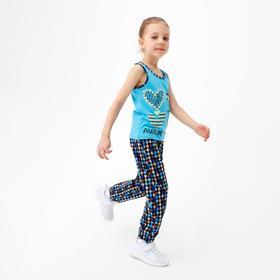Пижама для девочки, цвет голубой/сердечки, рост 110 см