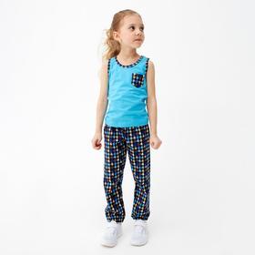 Пижама для девочки, цвет бирюзовый, рост 104 см