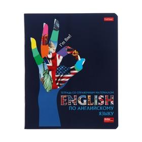 """Тетрадь предметная """"Будь в тренде!"""", 48 листов в клетку """"Английский язык"""", с интерактивной справочной информацией, обложка мелованный картон, выборочный лак"""