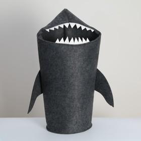 Корзина для хранения Eva Funny «Акула», 30×25×76 см, цвет тёмно-серый