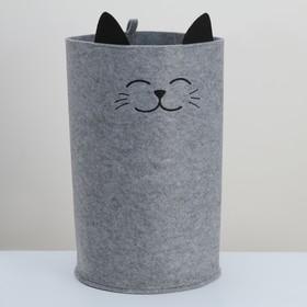 Корзина для хранения Funny «Котик», цвет серый