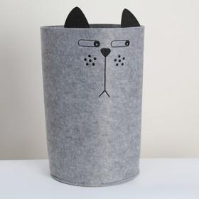 Корзина для хранения Funny «Котяра», 29×29×54 см, цвет серый
