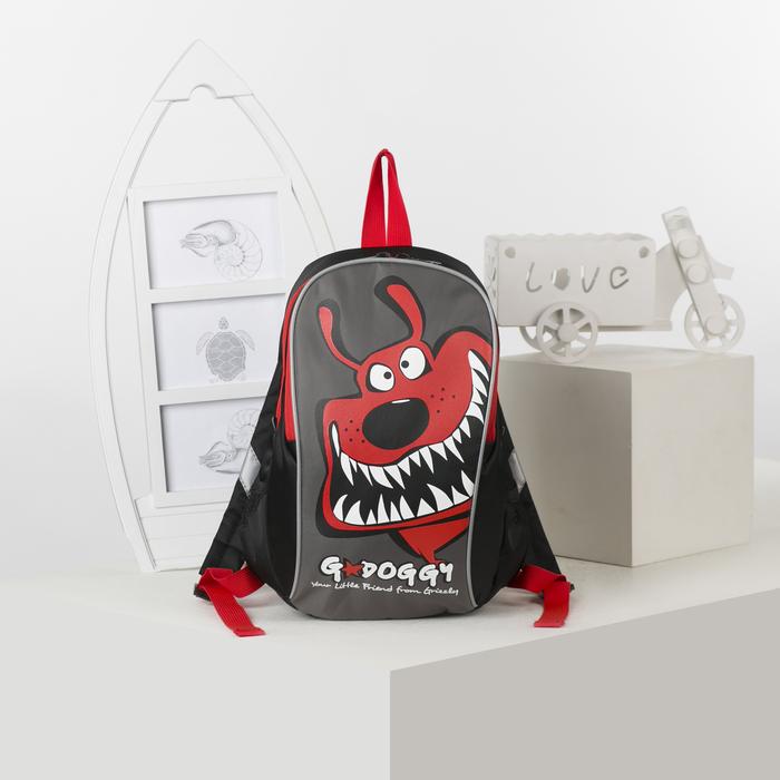 Рюкзак детский, отдел на молнии, цвет чёрный/красный