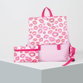 6912 D / P-600 Young backpack, 32 * 10 * 36, zippered, with cosmetic bag, pink / sponges