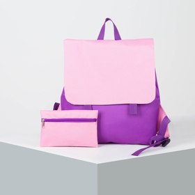 6912 P-600 Backpack mol, 32 * 10 * 36, zippered section, with cosmetic bag, violet / pink
