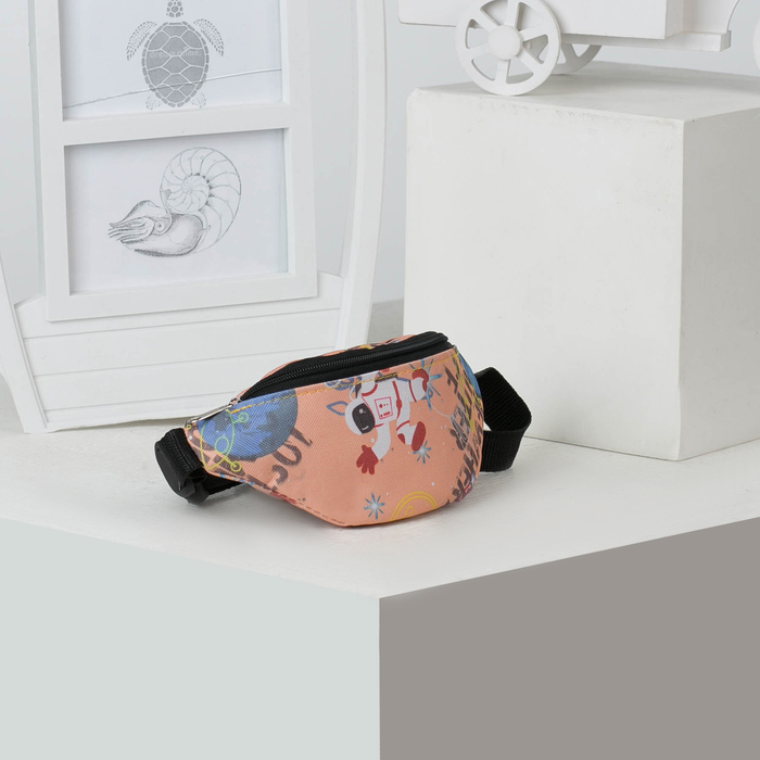 Сумка детская поясная, отдел на молнии, цвет персиковый