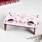 Подставка для яиц на 5 шт., 17,5х11,5х5 см, розовый - дуб - фото 718085