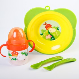 """Набор посуды """"Веселая ферма"""": тарелка, поильник, вилка, ложка"""
