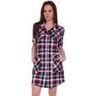Рубашка женская (туника), цвет красный, синий/клетка, размер 50