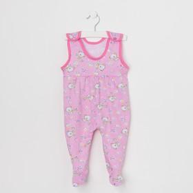 Ползунки для девочки, цвет розовый/медведи, рост 68 см (44)