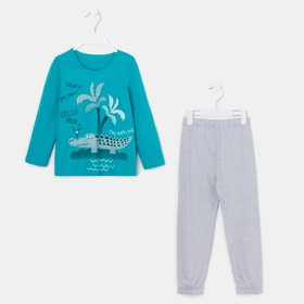 Пижама для мальчика, цвет серый/бирюзовый, рост 104 см (56)