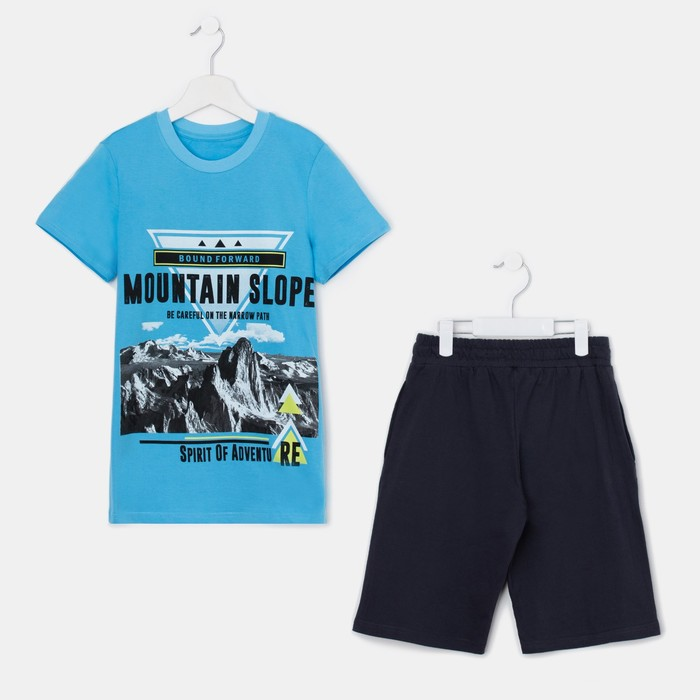 Комплект для мальчика (футболка, шорты), цвет тёмно-серый/голубой, рост 146 см (72)