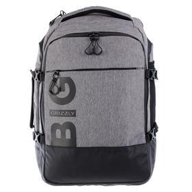 Рюкзак молодёжный с эргономичной спинкой Grizzly, 45 х 32 х 21, для мальчиков, чёрный/серый