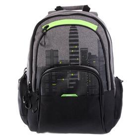 Рюкзак молодёжный с эргономичной спинкой Grizzly, 42 х 30 х 22, чёрный/салатовый