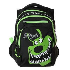 Рюкзак школьный с эргономичной спинкой Grizzly, 39 х 26 х 20, чёрный/салатовый