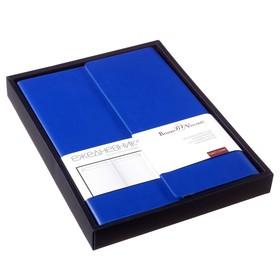 Ежедневник недатированный А5, 136 листов, Waltz, твёрдая обложка из искусственной кожи, магнитный клапан, синий, в подарочной упаковке