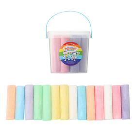 Мелки цветные для асфальта 14 штук, 7 цветов «Фантазия», цилиндр
