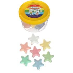 Мелки цветные для асфальта 12 штук, 7 цветов «Фантазия», в форме звёздочки